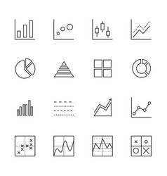 Business graph icon set thin line icons vector