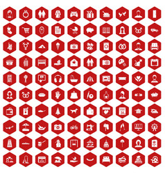 100 family icons hexagon red vector