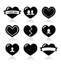 Love hearts icons set for valentines day vector