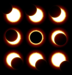 Solar eclipse phases vector