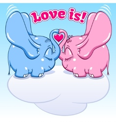 Winged baby elephant in love vector