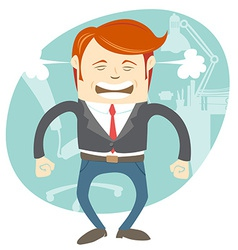 Angry office man in front of his working place vector
