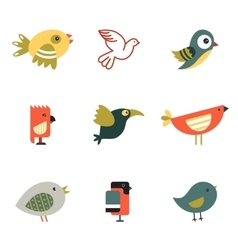 Birds different styles vector