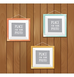 Template of square frame with poster placed in vector