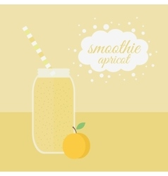 Apricot smoothie in jar on a table vector