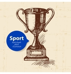 Hand drawn sport object sketch trophy vector