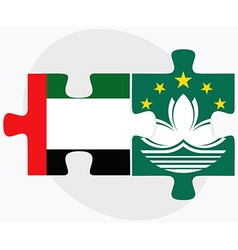 United arab emirates and macau flags vector