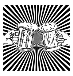 Hand drawn doodles two hands toasting glasses vector