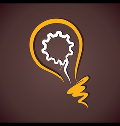 Gear in yellow bulb vector
