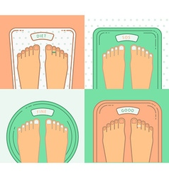 Bathroom scales with legs overweight banner design vector