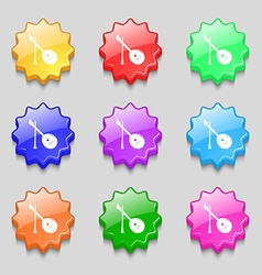 Balalaika icon sign symbol on nine wavy colourful vector