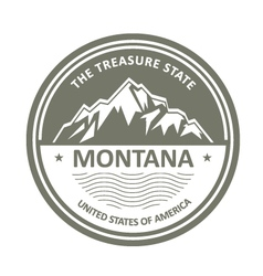 Montana Mountains - Snowbound mountain label vector image