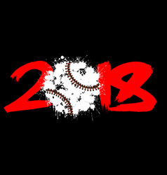 abstract number 2018 and baseball vector image vector image