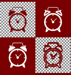 Alarm clock sign bordo and white icons vector