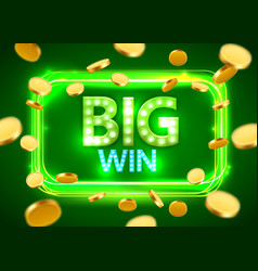 big win shining retro banner with flying coins vector image