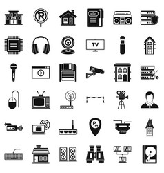 Camera icons set simple style vector