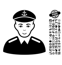 Captain flat icon with bonus vector