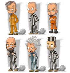 cartoon prisoners with chains character set vector image vector image