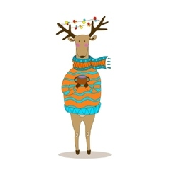 Christmas deer Happy New Year Reindeer vector image