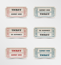 Collection vintage ticket vector image vector image