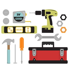 Colorful tools and toolbox set vector