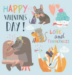 cute animals couples in love collection vector image vector image