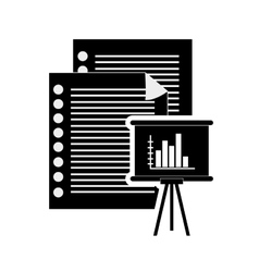 documents and graph chart icon vector image