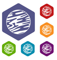 Far away planet icons set hexagon vector