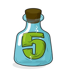 Five in magic jar Figure 5 in laboratory bottle vector image vector image
