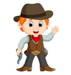 Funny cartoon cowboy vector