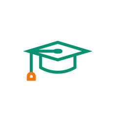 Graduation cap symbol icon on white background vector