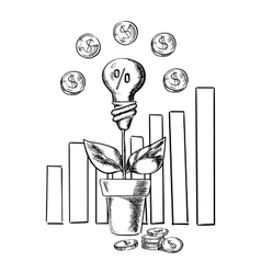 Growth chart and idea light bulb with flower vector image