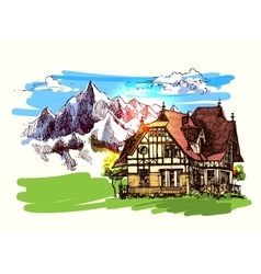 House in montains vector