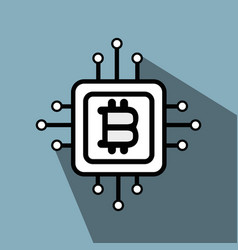 line icon circuit bitcoin money currency vector image vector image
