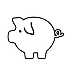 Line pig icon save money currency vector