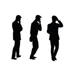 Male businessman thinks goes black silhouette vector image