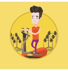 Man exercising on elliptical trainer vector image