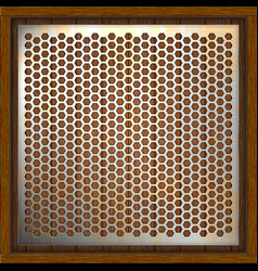 metal perforated background wooden boards vector image vector image
