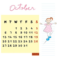 october 2014 kids calendar vector image vector image