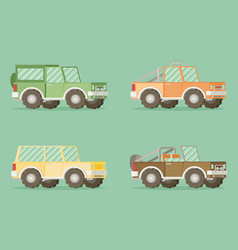 Off road car set isolated on color background flat vector