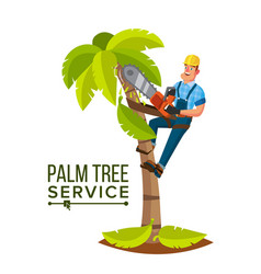 Palm tree service professional man vector