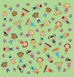 pattern kids green background butterfly vector image vector image