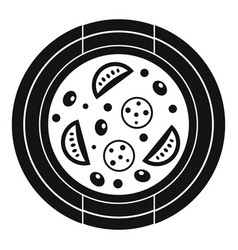 Pizza with sausage tomatoes and olives icon vector