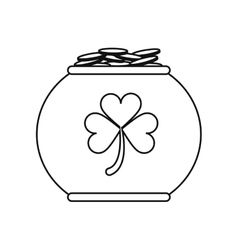 pot full coins shamrock decoration celebration st vector image