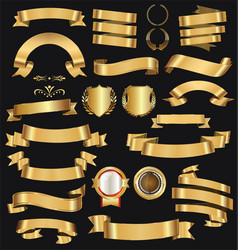 retro golden ribbons and labels collection 2 vector image vector image