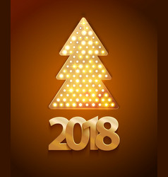 Retro light banner a christmas tree with 2017 new vector
