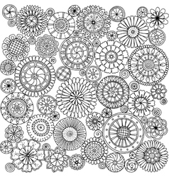 Seamless asian ethnic floral mandala doodle black vector image