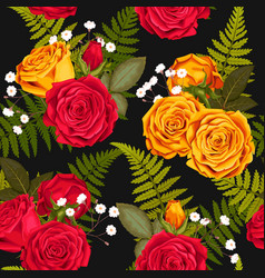 Seamless pattern with lilies and roses vector