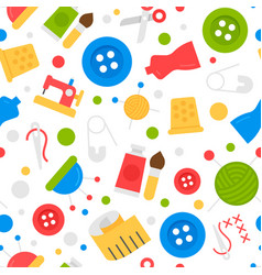 seamless pattern with sewing kit and tools vector image