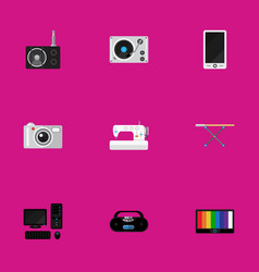 set of 9 editable tech icons includes symbols vector image vector image